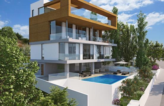 Новая Элитная 4-Спальная Вилла с Видом на Море в Районе Amathus