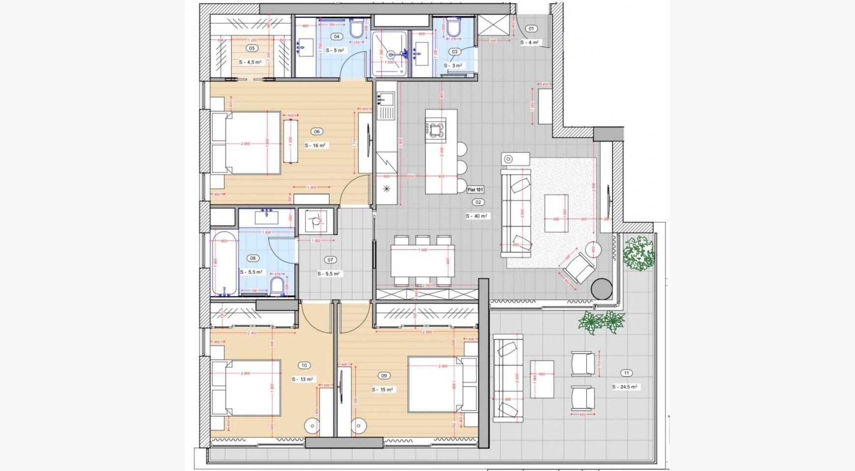Современная 3-Спальная Квартира в Новом Комплексе возле Моря - 9