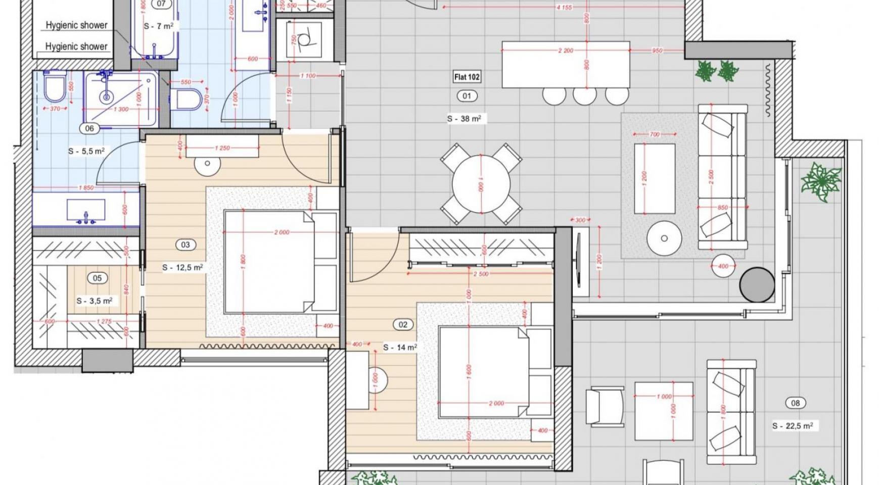Cовременная 2-Спальная Квартира в Новом Комплексе возле Моря - 9