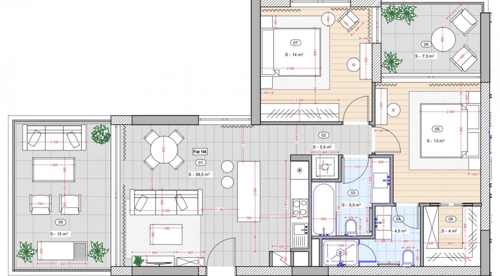 Cовременная 2-Спальная Квартира в Новом Комплексе возле Моря - 10