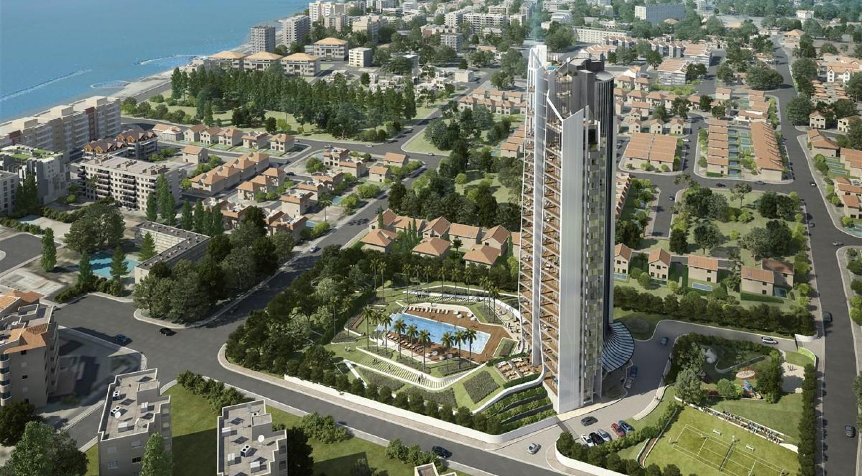 Sky Tower. Современная Просторная Односпальная Квартира 302 возле Моря - 5