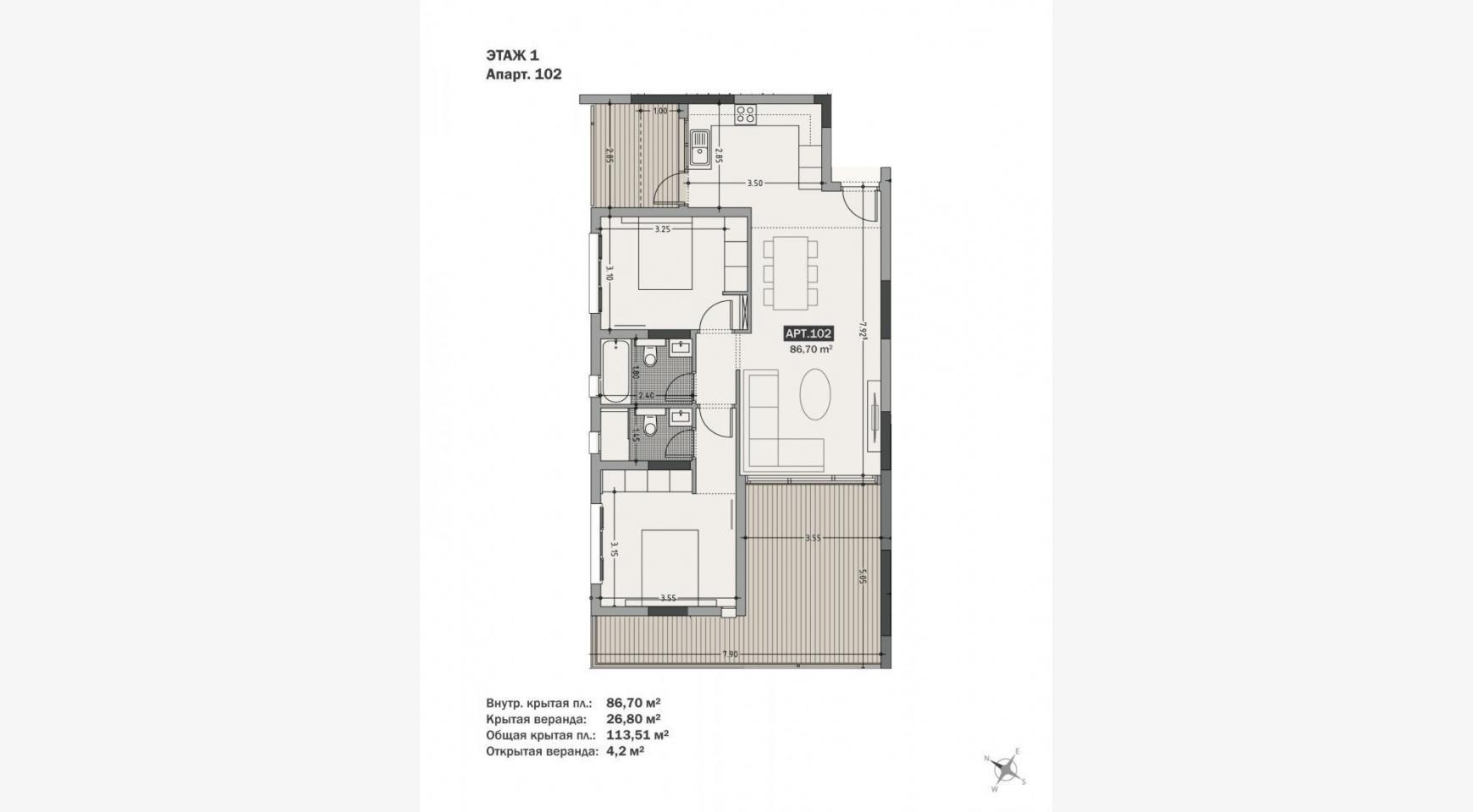 Hortensia Residence, Кв. 102. 2-Спальная Квартира в Новом Комплексе возле Моря - 64