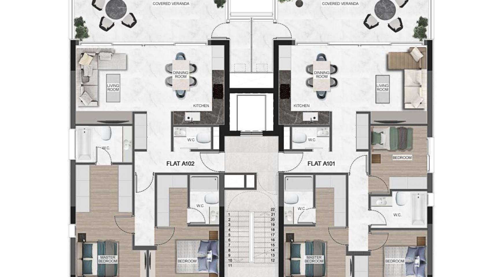 Urban City Residences, Block C. Новая Просторная 3-Спальная Квартира 401 в Центре Города - 41