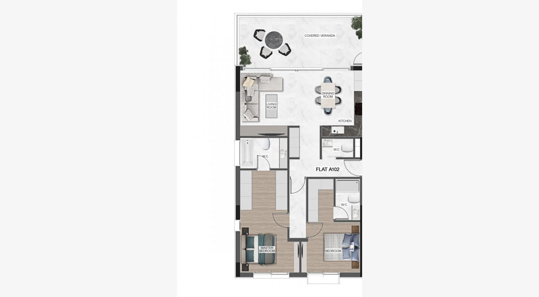 Urban City Residences, Block C. Новая Просторная 3-Спальная Квартира 401 в Центре Города - 42