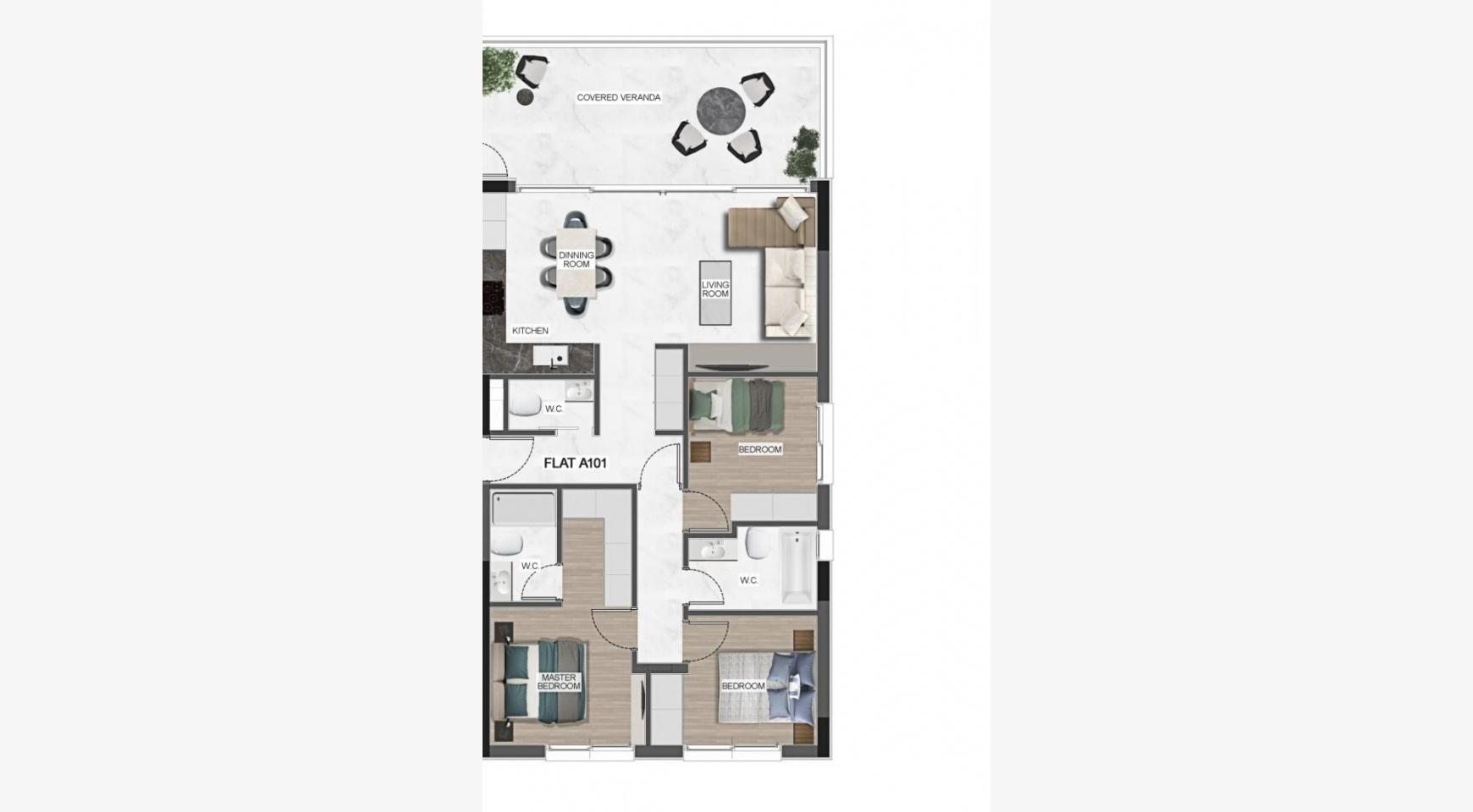 Urban City Residences, Block C. Новая Просторная 3-Спальная Квартира 401 в Центре Города - 43