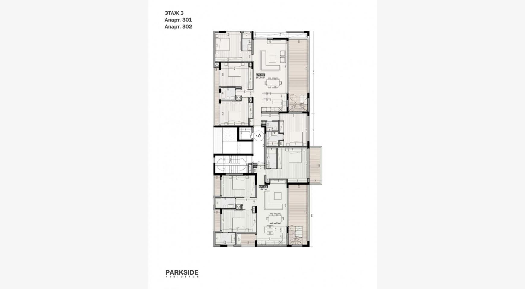 Parkside Residence. Просторный 4-Спальный Пентхаус 302 в Туристическом Районе - 20