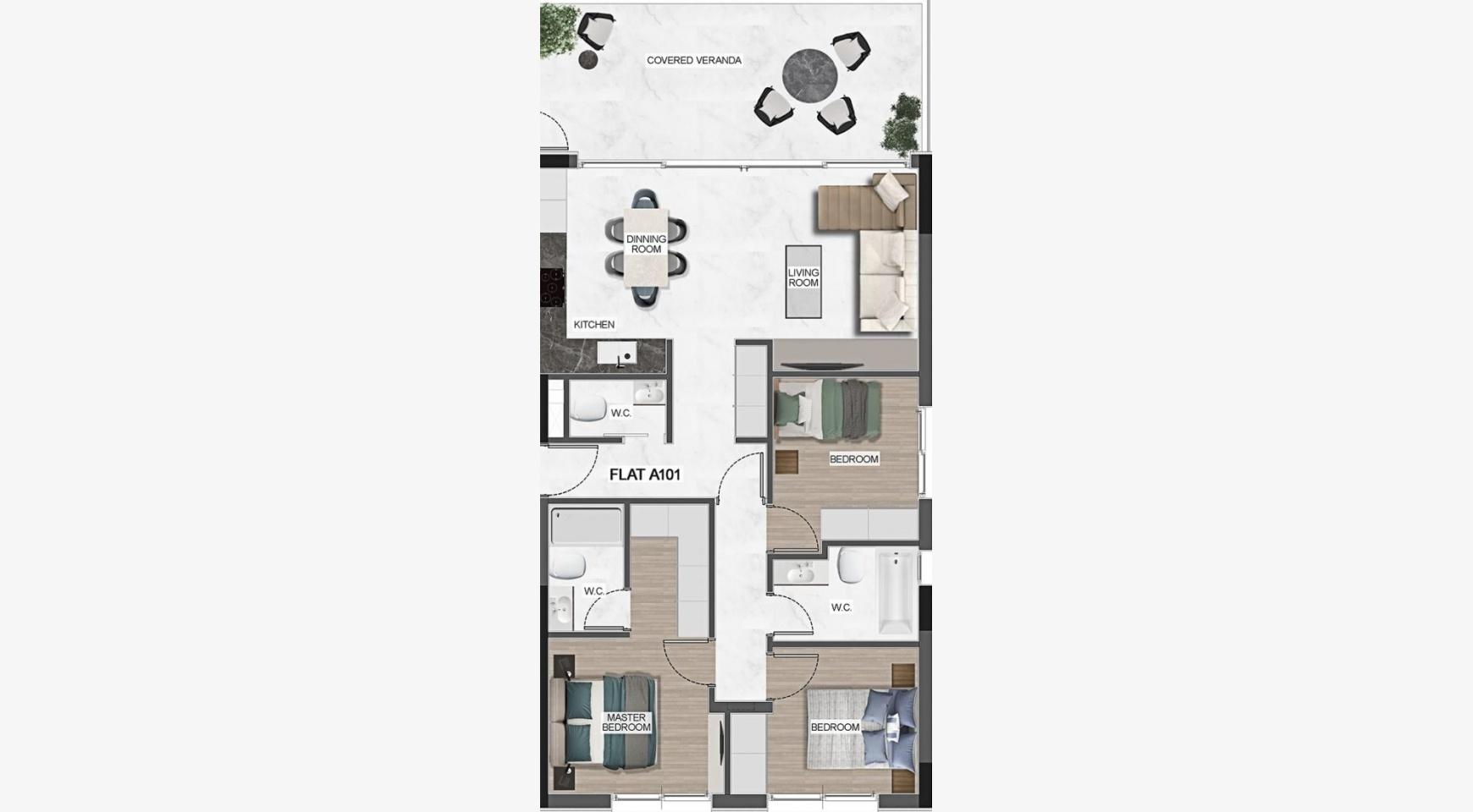 Urban City Residences, Кв. C 501. 3-Спальная Квартира в Новом Комплексе в Центре Города - 40